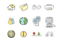 komputer rysująca ręki ikony ustalona sieć Obrazy Royalty Free