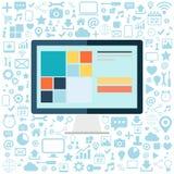 Komputer stacjonarny z błękitnymi ikonami ustawiać na białym tle Płaska wektorowa ilustracja Obrazy Stock