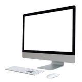 Komputer stacjonarny z bielu ekranem obraz royalty free
