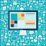 Komputer stacjonarny z ikonami ustawiać na błękitnym tle Płaska wektorowa ilustracja Zdjęcie Stock