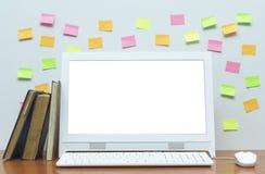 Komputer stacjonarny z pustym bielu ekranem na biurko stole zdjęcie royalty free