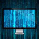 Komputer z matrycowym tłem Zdjęcia Stock
