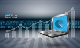 Komputer z wykresem Obraz Stock