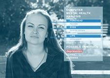 Komputerowa analiza zdrowie psychiczne maszynowa analiza emocjonalny stan dziewczyny pojęcie sztuczna inteligencja zdjęcie stock