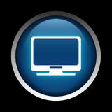 Komputerowa ikona na okręgu odizolowywającym na czarnym tle Obrazy Royalty Free
