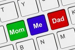 Komputerowa klawiatura z Rodzinnymi kluczami Zdjęcia Stock