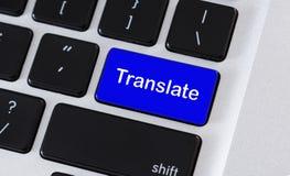 Komputerowa klawiatura z Tłumaczy tekst na klawiatura guziku royalty ilustracja