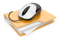 Komputerowa mysz łącząca żółta falcówka royalty ilustracja