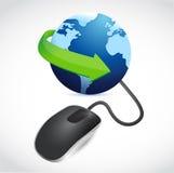 Komputerowa mysz łącząca błękitna kula ziemska Obrazy Stock