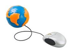 Komputerowa mysz łącząca kula ziemska Obraz Royalty Free