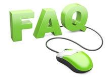 Komputerowa mysz łącząca słowo FAQ ilustracji