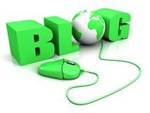 Komputerowa mysz łączył słowo błękitny blog royalty ilustracja
