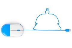 Komputerowa mysz i kable w formie Usługowy Bell Obraz Royalty Free