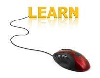 Komputerowa mysz i słowo Uczymy się Obraz Stock