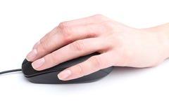 Komputerowa mysz w ręce na białym tle Obraz Royalty Free