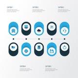 Komputerowe Kolorowe ikony Ustawiać Kolekcja władza, magazyn, związek I Inni elementy, Także Zawiera symbole Tak jak Fotografia Royalty Free