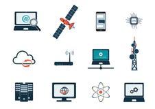 Komputerowe komunikacje i internet technologii ikony set ilustracji