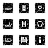 Komputerowe ochron ikony ustawiać, grunge styl Obrazy Royalty Free