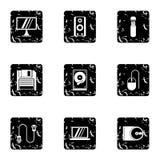 Komputerowe ustawianie ikony ustawiać, grunge styl Obraz Stock