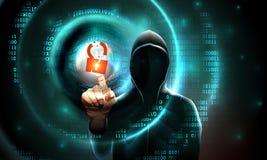Komputerowego hackera kapiszonu dotyków ekran sensorowy siekał kędziorka symbol i binarnego kod Fale na binarnej tło hackera sylw royalty ilustracja