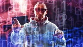 Komputerowego hackera pojęcie, tło cyfry 01 Obrazy Stock