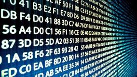 Komputerowego kodu bieg w cyber przestrzeni Loopable ilustracja wektor