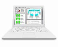 komputerowego laptopu ekranu webinar biel Zdjęcia Stock