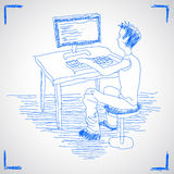 komputerowego mężczyzna działanie Obrazy Stock