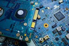 Komputerowego obwodu jednostki centralnej układu scalonego mainboard sedna procesoru elektronika przyrząd fotografia royalty free