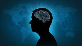 Komputerowego obwodu mózg - mężczyzna przed cyfrowym światem Zdjęcia Royalty Free