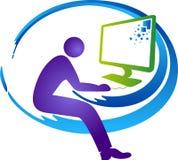 Komputerowego operatora logo ilustracja wektor