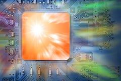 komputerowego pojęcia jednostki centralnej postu potężny procesor Fotografia Royalty Free