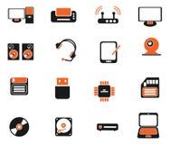 Komputerowego wyposażenia proste wektorowe ikony Zdjęcie Royalty Free