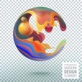 Komputerowej grafiki sfera dekorowa? z 3d p?atkami i projekt?w elementami w?rodku Przejrzysta wektorowa ilustracja EPS10 royalty ilustracja