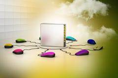 Komputerowej myszy związany serwer ilustracja wektor