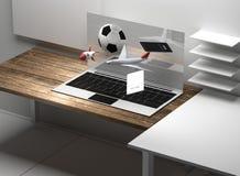 Komputerowi desktop prezenta pudełka 3d-illustration Obrazy Royalty Free