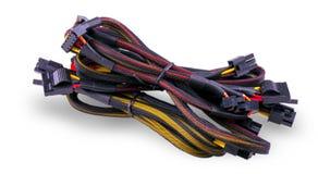 Komputerowi komunikacja kable odizolowywający na bielu Zdjęcie Royalty Free