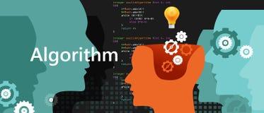 Komputerowy algorytm nauki rozwiązywania problemów proces z języka programowania kodu pojęcia przekładnią i żarówką royalty ilustracja