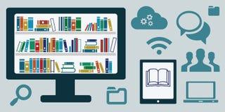 Komputerowy biblioteczny horyzontalny ilustracja wektor