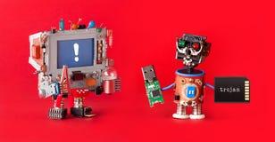 Komputerowy cyber atak Robota hackera oprogramowania usb kija pamięci trojańska karta Cyfrowego bezpieczeństwo, blokuje wirusową  Zdjęcia Stock