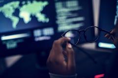 Komputerowy cyfrowanie ekran w cyber sieka pojęcie zdjęcie stock