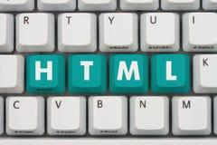 Komputerowy cyfrowanie z HTML na klawiaturze zdjęcie stock