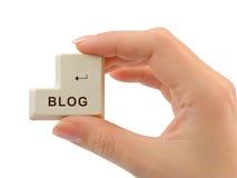 Komputerowy guzika blog w ręce Obraz Stock