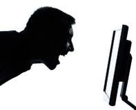 komputerowy jeden twarzy mężczyzna parawanowa sylwetka Zdjęcia Stock