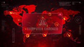 Komputerowy Krakingowy Raźny ostrzeżenie atak na Parawanowym Światowej mapy pętli ruchu ilustracji
