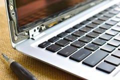 komputerowy laptop, łamający ekran, naprawa i mai, zdjęcie royalty free