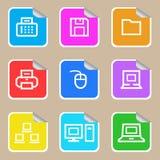 Komputerowy majcher ikony set Fotografia Royalty Free
