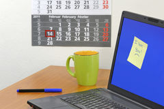 komputerowy miłości notatki ekran Zdjęcie Stock