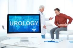 Komputerowy monitor z słowem urologia Zdjęcia Royalty Free