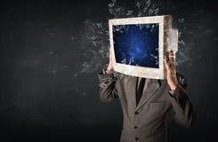 Komputerowy monitoru ekran wybucha na młodzi persons przewodzi Zdjęcie Royalty Free
